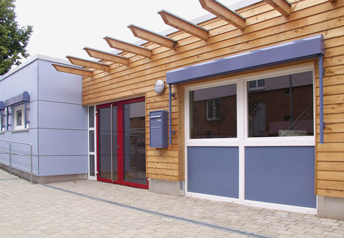 Holzfassade aus einem nachhaltigem Baustoff