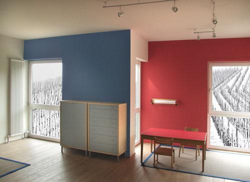 modernes Holzhaus von innen